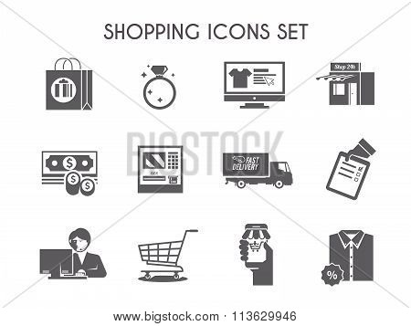 Simple black shopping vector icon set
