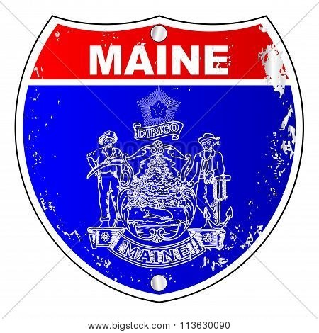 Maine Flag As A  Interstate Sign
