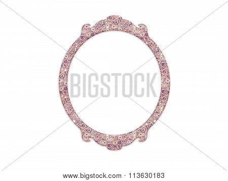 Vintage Mirror Frame With Round Shape And Retro Pattern