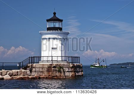 Portland Breakwater Light Guides Fishermen