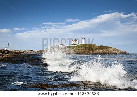 Waves Crashing By Nubble Lighthouse In Maine