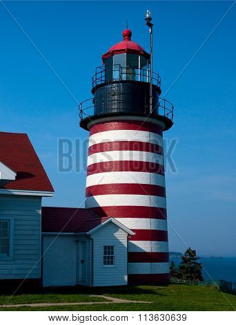 West Quoddy Head Lighthouse Tower On Summer Day