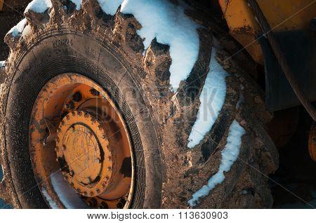 Big Truck Wheel Closeup Object.