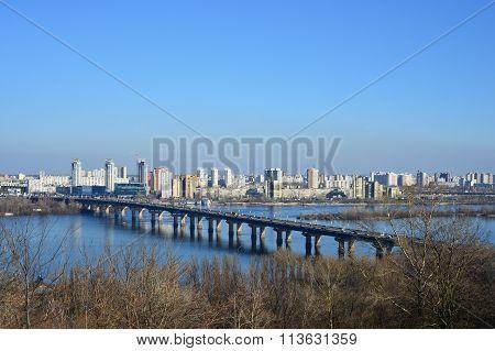 Sityscape urban view on the left bank of Kiev, Ukraine
