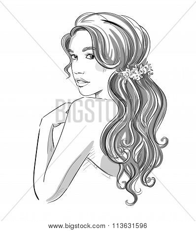Sketch Of A Beautiful Girl With Bridal Hairstyle. Black And White. Fashion Illustration