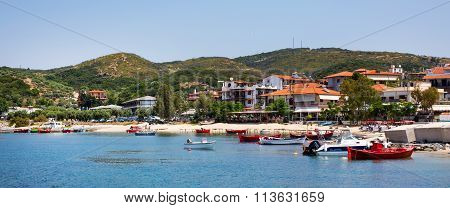 Ouranoupolis town panorama, harbor, boats at Athos, Greece