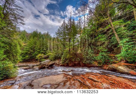 Wild River In The Appalachian Mountains During Autumn