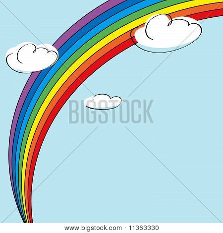 Rainbow and clouds background