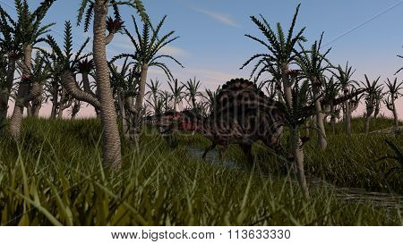 spinosaurus in swamp waters and grass