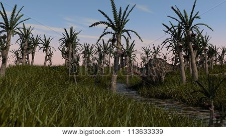 dicraeosaurus in swamp waters and grass