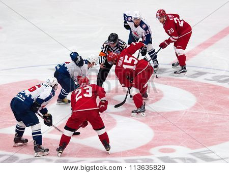 Roman Horak (15) And Dmitry Semin (42) On Face-off