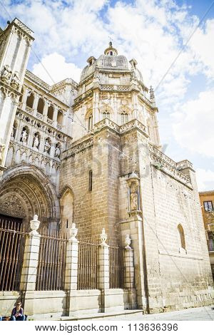majestic Cathedral of Toledo Gothic style, with walls full of religious sculptures
