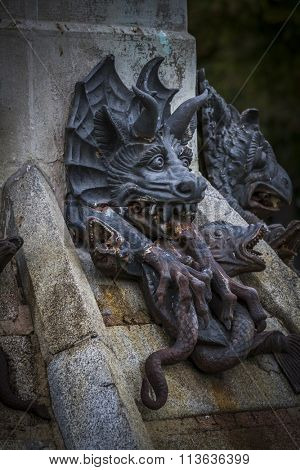 guardian, devil figure, bronze sculpture with demonic gargoyles and monsters