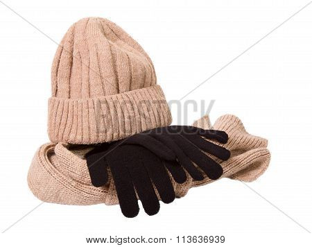 Clothes For A Cold Season: Woolen Cap, Scarf And Gloves