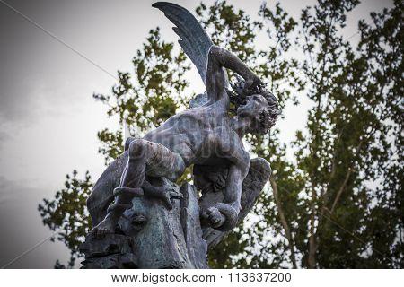 guardian, devil figure, bronze sculpture with demonic gargoyles and monsters