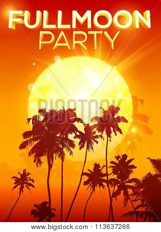 Big orange moon full moon party poster background