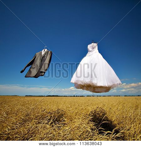 bride and groom's suit