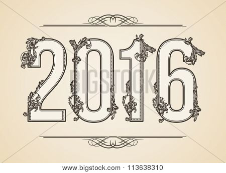 Calligraphic Year number 2016. Vector Design Background. Swirl Style Illustration.
