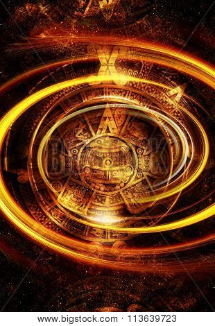 Ancient Mayan Calendar, Cosmic space and stars, abstract color Background, computer collage. Yeloow