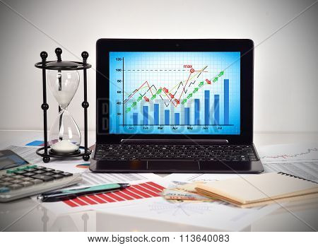 Stock Chart On Screen Notebook