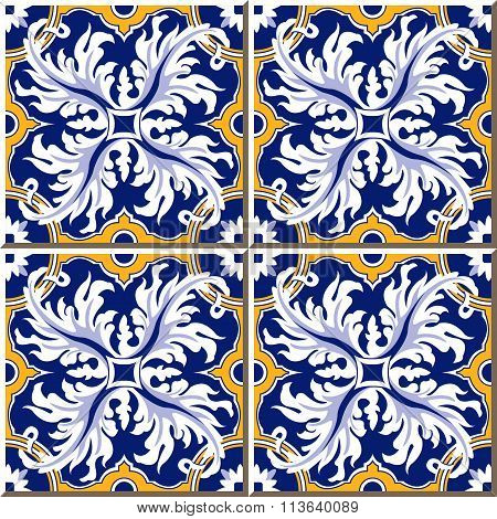 Vintage seamless wall tiles of feather spiral round, Moroccan, Portuguese.