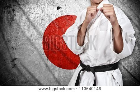 Karate Fighter And Japan Flag