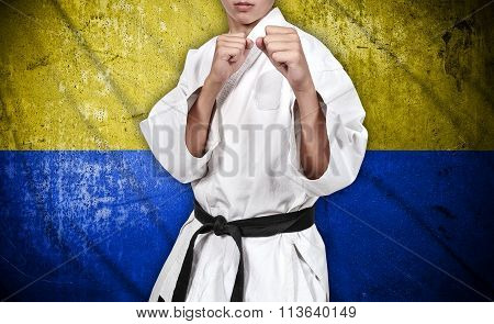Karate Fighter And Ukraine Flag