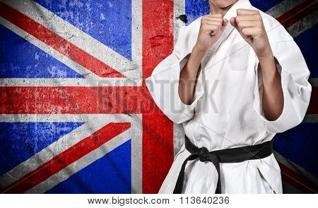 Karate Fighter And United Kingdom Flag