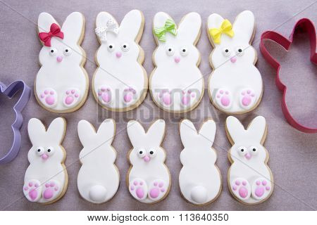 Marshmallow fondant covered and decorated easter bunny sugar cookies with cutters