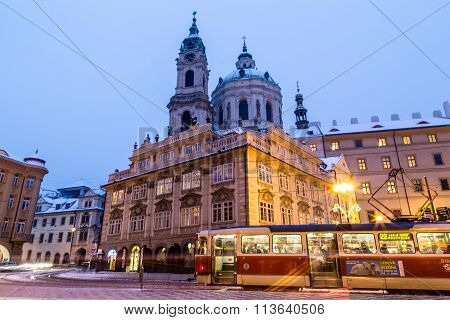 St. Nicholas Church In Prague At Dusk