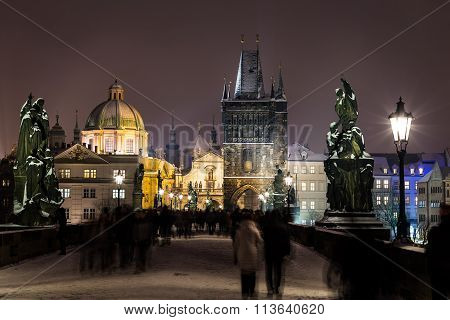 Charles Bridge Towards Old Town In The Winter