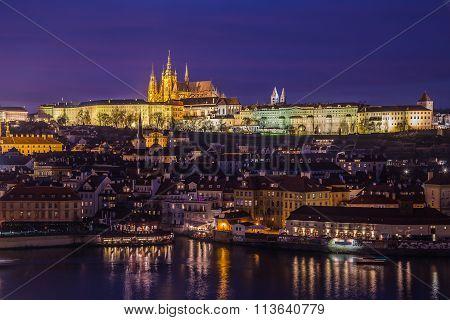Prague Skyline At Dusk