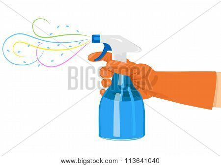 hand holding a spray bottle