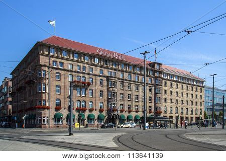 NUREMBERG, GERMANY - AUGUST 23, 2015: The Le Méridien Grand Hotel is located at the station square in Nuremberg and has a remarkable facade