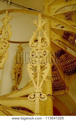 Spiral metal staircase detail and design at Sultan Abu Bakar State Mosque in Johor Bharu, Malaysia