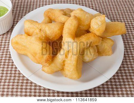 Delicious Deep Fried Doughstick With Pandan Custard Dip