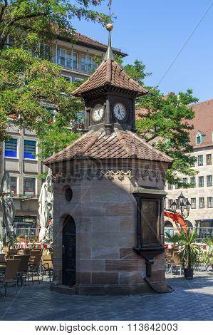 Clock Tower In Nuremberg, Germany, 2015