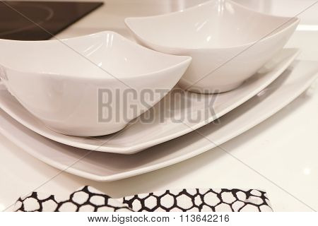 White Porcelain Dishes, Bowls And Plates