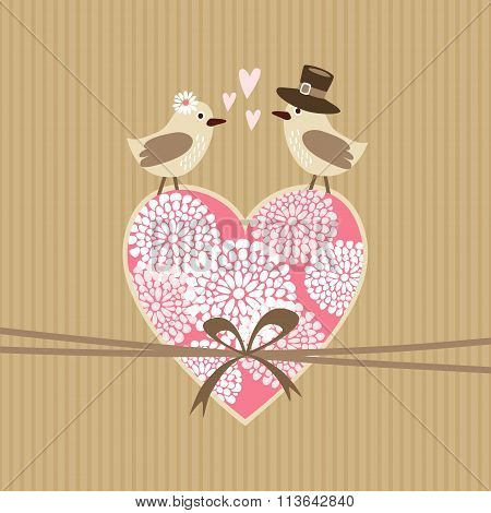 Cute Wedding, Valentine Invitation Card With Birds In Love And Floral Heart, Vector Illustration