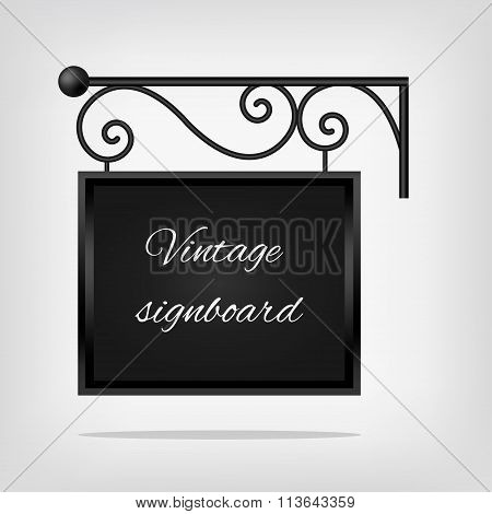 Black vintage signboard. Vector illustration, EPS10.