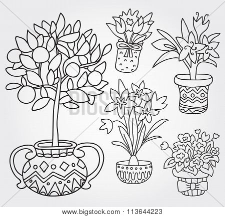Cute Doodle Outline Spring Flowers In Pots.