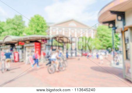 Defocused Background Of Harvard Square, Cambridge, Usa
