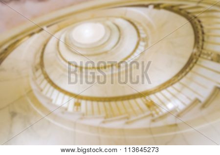 Defocused Background Of A Spiral Staircase