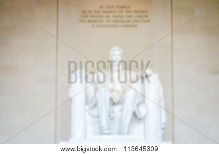 Defocused Background Of Lincoln Memorial In Washington Dc, Usa