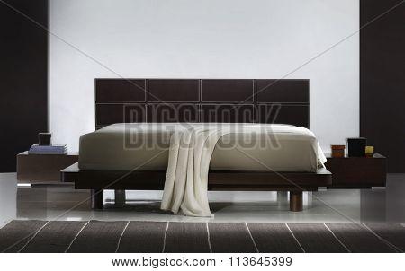 ATMOSPHERIC BEDROOM INTERIOR . BROWN LEATHER BED .