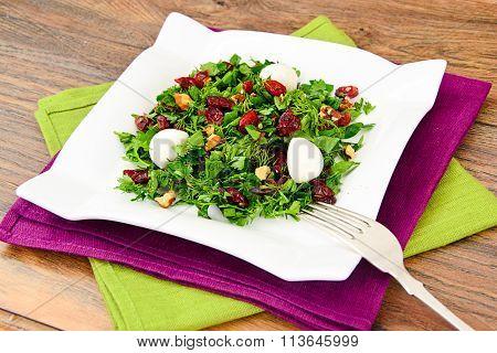 Salad with Dill, Parsley, Cilantro, Walnuts, Garlic, Olive Oil,