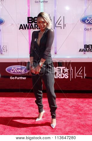Elisa Johnson at the 2014 BET Awards held at the Nokia Theatre L.A. Live in Los Angeles, USA on June 29, 2014.