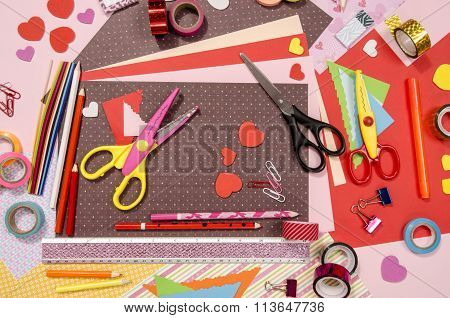 Arts And Craft Supplies For Saint Valentine's.