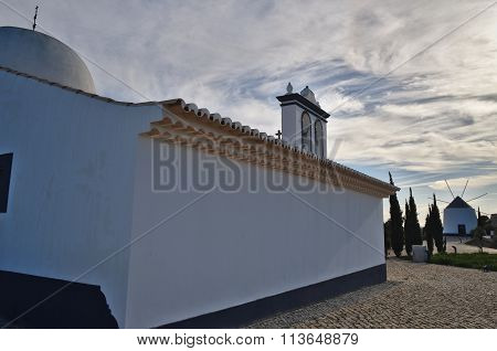 Church of St. Anthony and windmill in Portugal