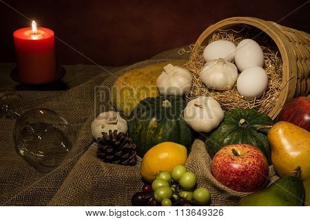 Still Life Harvest Fruit And Vegetable